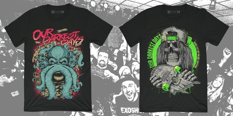 Два варианта футболок для весеннего тура Our Darkest Days