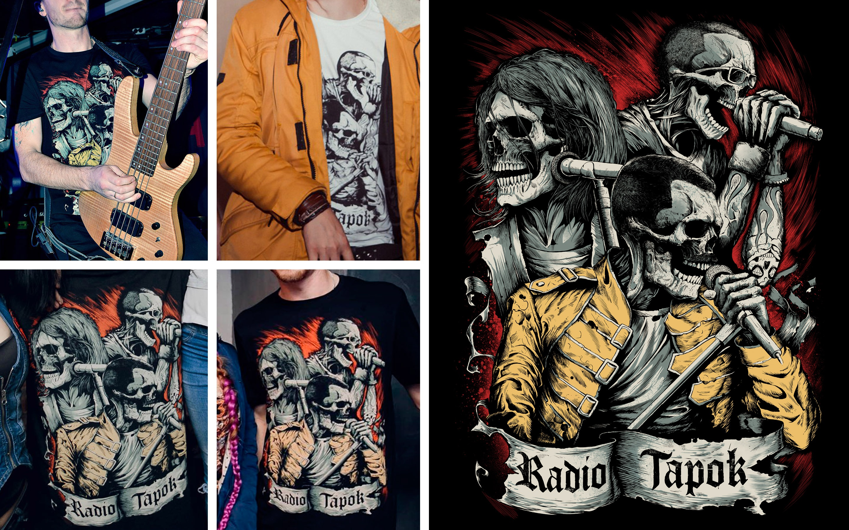 Иллюстрация для мерча Radio Tapok и футболки в жизни