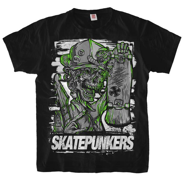 Чёрная футболка Skatepunkers.net