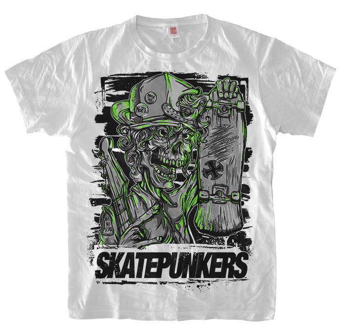 Белая футболка Skatepunkers.net